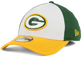New Era Green Bay Packers Chase White Front Mesh 39THIRTY Cap