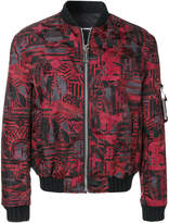 Les Hommes patterned puffy bomber jacket