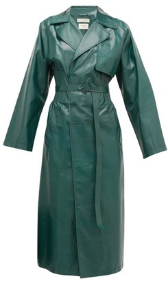 Bottega Veneta Ribbed-waist Double-breasted Leather Trench Coat - Womens - Green
