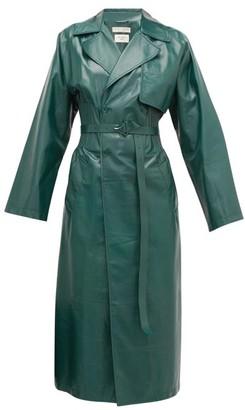 Bottega Veneta Ribbed-waist Double-breasted Leather Trench Coat - Womens - Green