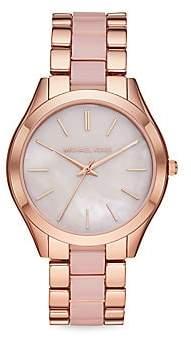 Michael Kors Women's Slim Runway Three-Hand Two-Tone Stainless Steel Bracelet Watch