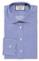 Thomas Pink Slim Fit Grant Striped Cotton Dress Shirt