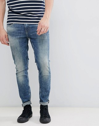 ONLY & SONS Washed Skinny Fit Jeans-Blue
