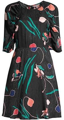 Rebecca Taylor Botanical Bloom Three-Quarter Sleeve Dress