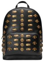 Gucci Animal Studs Leather Backpack - Black