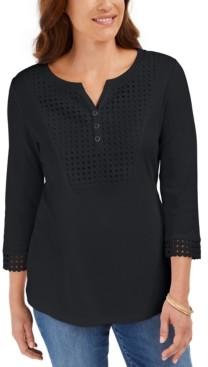 Karen Scott Petite Crochet-Bib Henley Top, Created for Macy's
