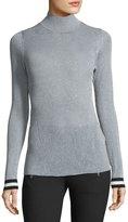 Rag & Bone Priya Turtleneck Metallic Sweater w/ Striped Cuffs