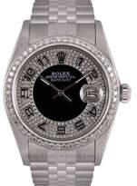 Rolex Datejust Stainless Steel Black Bulls Eye Tuxedo Diamond Dial & Bezel 36mm Mens Watch