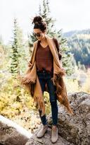Ily Couture Camel Fringe Sweater Vest