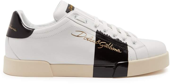 Dolce & Gabbana Low-top varnished leather trainers