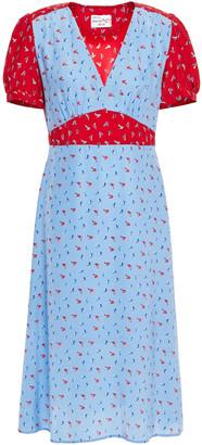 HVN Printed Silk Midi Dress