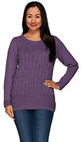 Denim & Co. As Is Cable Knit Long Sleeve Crew Neck Pullover