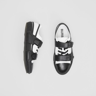 Burberry Two-tone Cotton and Leather Webb Sneakers