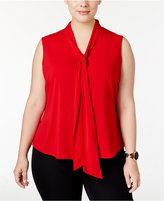Calvin Klein Plus Size Tie-Neck Blouse