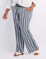 Charlotte Russe Plus Size Striped Smocked Drawstring Pants