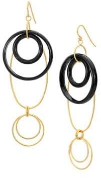 Gold And Honey Thin Lucite Oval Drop Earrings