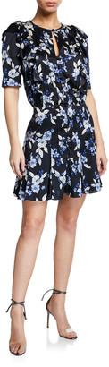 Veronica Beard Camillie Pleated Floral-Print Mini Dress