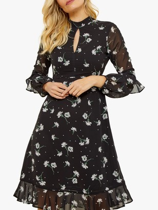 Sosandar Floral Print Fit And Flare Ruffle Dress, Black