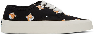 MAISON KITSUNÉ Black All Over Fox Laced Sneakers