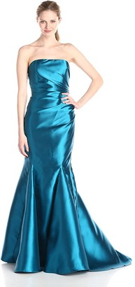 Badgley Mischka Women's Strapless Asymmetrical Drape Twill Gown with Side Zipper