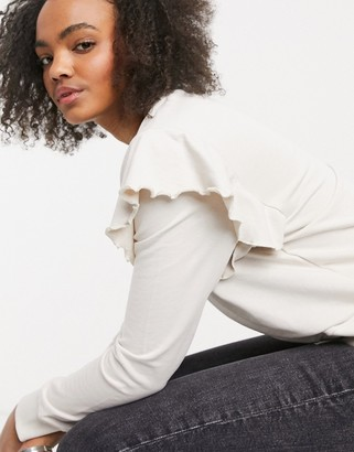 Only sweatshirt with frill detail in cream