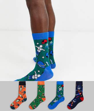 Jack and Jones 4 pack socks in space print-Multi