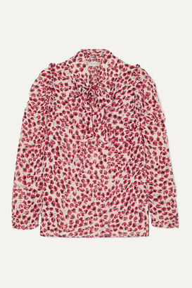 MUNTHE Tie-neck Ruffled Leopard-print Crepe De Chine Blouse - Red