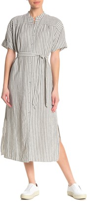 Frame Stripe Linen Blend Wrap Dress