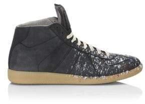 Maison Margiela Paint Splatter Leather Sneakers