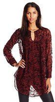 Tracy Reese Women's Pintuck Flocked Print Tunic Top