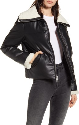 Levi's Bubble Faux Shearling Collar Puffer Coat