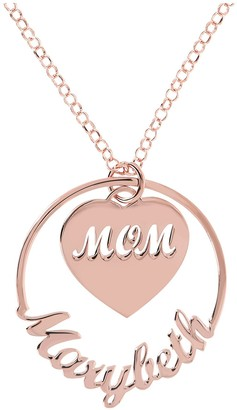 Italian Silver Personalized Mom Pendant with Chain Necklace