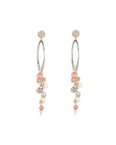 Alexis Bittar Crystal Encrusted Beaded Arc Cluster Earrings