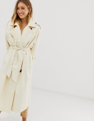 Asos DESIGN longline trench coat with statement buttons