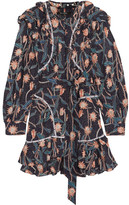 Isabel Marant Ullo Embellished Floral-print Cotton Dress - Black