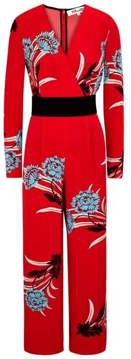 Diane von Furstenberg Floral-print Belted Silk Jumpsuit