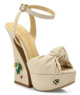 Charlotte Olympia Vreeland Floral-Embroidered Knotted Linen Platform Sandals