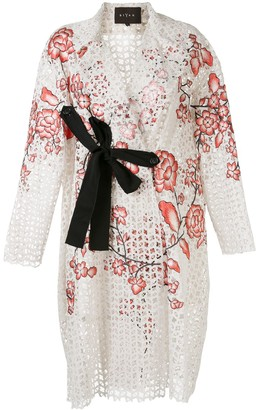 Biyan Radine floral-embroidered lace evening coat
