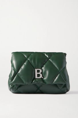 Balenciaga Touch Puffy Embellished Quilted Leather Clutch - Green