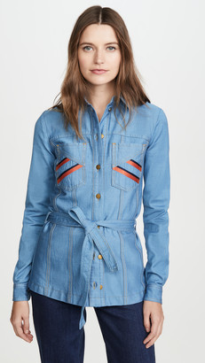 Victoria Victoria Beckham Belted Embroidered Shirt