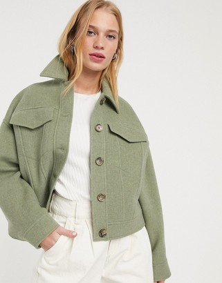And other stories & cropped pocket-detail jacket in pistachio green
