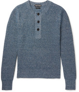 Tom Ford Mélange Cashmere And Linen-blend Henley Sweater