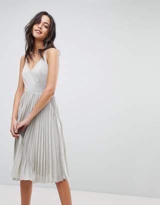 Adelyn Rae Jolene Pleated Dress-Silver