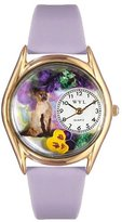 Whimsical Watches Kids' C0120004 Classic Gold Siamese Cat Lavender Leather And Goldtone Watch