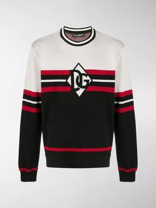 Dolce & Gabbana Logo-Print Striped Sweatshirt