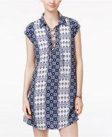 Trixxi Juniors' Printed Lace-Up Shift Dress