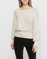 Express Smocked Banded Fleece Sweatshirt