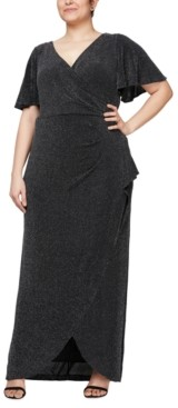 Alex Evenings Plus Size Metallic-Knit Gown