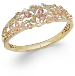 Eliot Danori 18k Gold-Plated Cubic Zirconia & Glass Flower Openwork Hinge Bangle Bracelet, Created for Macy's