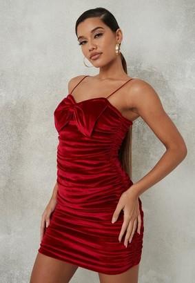 Missguided Red Velvet Bow Front Mini Dress